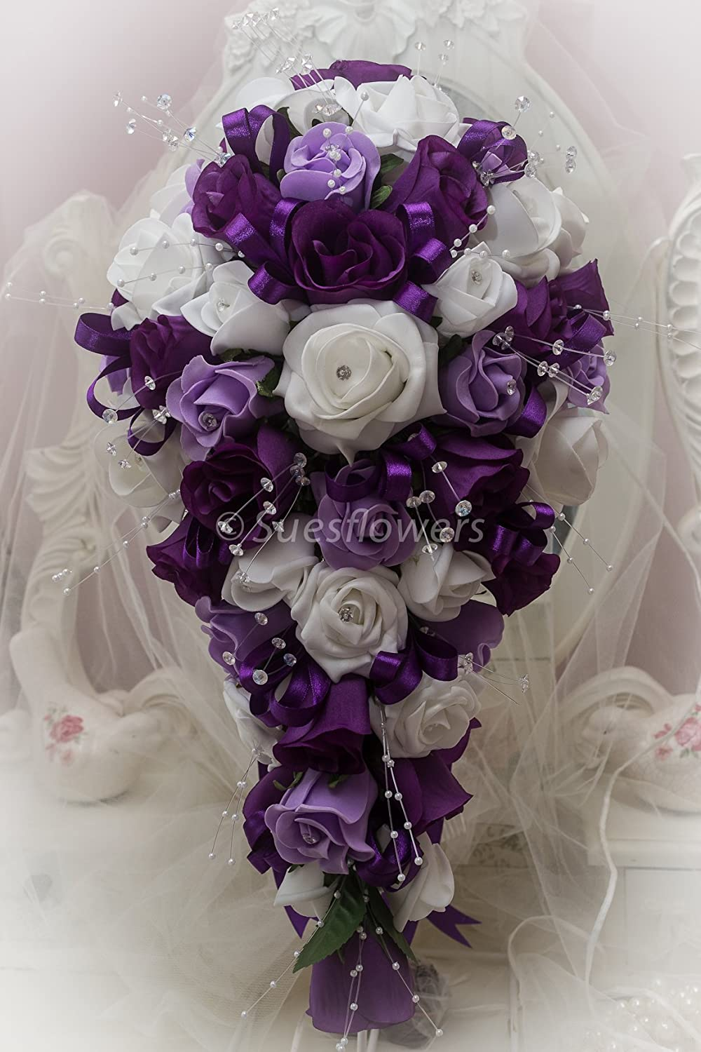 WEDDING FLOWERS SET OF 6 LUXURY DOUBLE BUTTONHOLES IN CADBURYS PURPLE AND WHITE