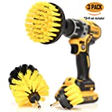 ORIGINAL Drill Brush 360 Attachments 3 pack kit Medium- Yellow All purpose Cleaner Scrubbing Brushes for Bathroom surface Grout Tub Shower Kitchen AutoBoatRV