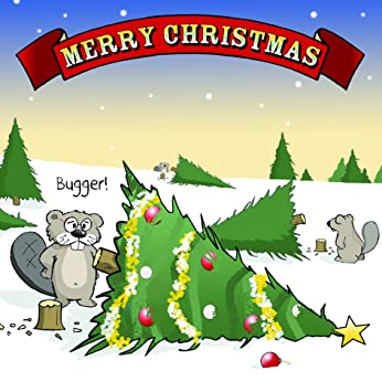 twizler Merry Christmas Karte mit Biber, Weihnachtsbaum und Kerl ...
