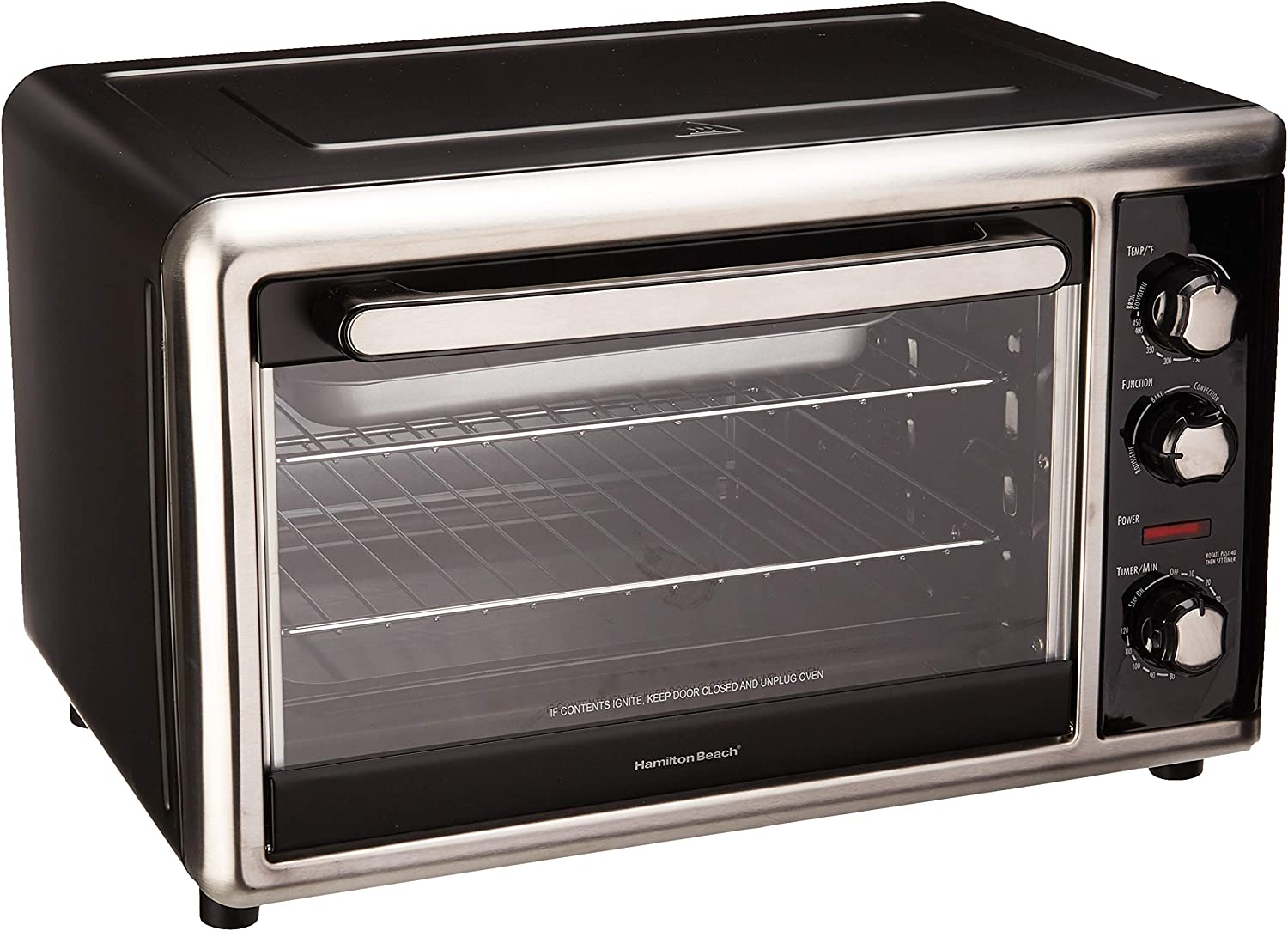 Hamilton Beach, Black 31105D Countertop Oven with Silver, Large