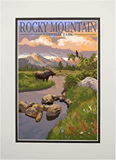 product image for Rocky Mountain National Park, Colorado - Moose and Meadow (11x14 Double-Matted Art Print, Wall Decor Ready to Frame)