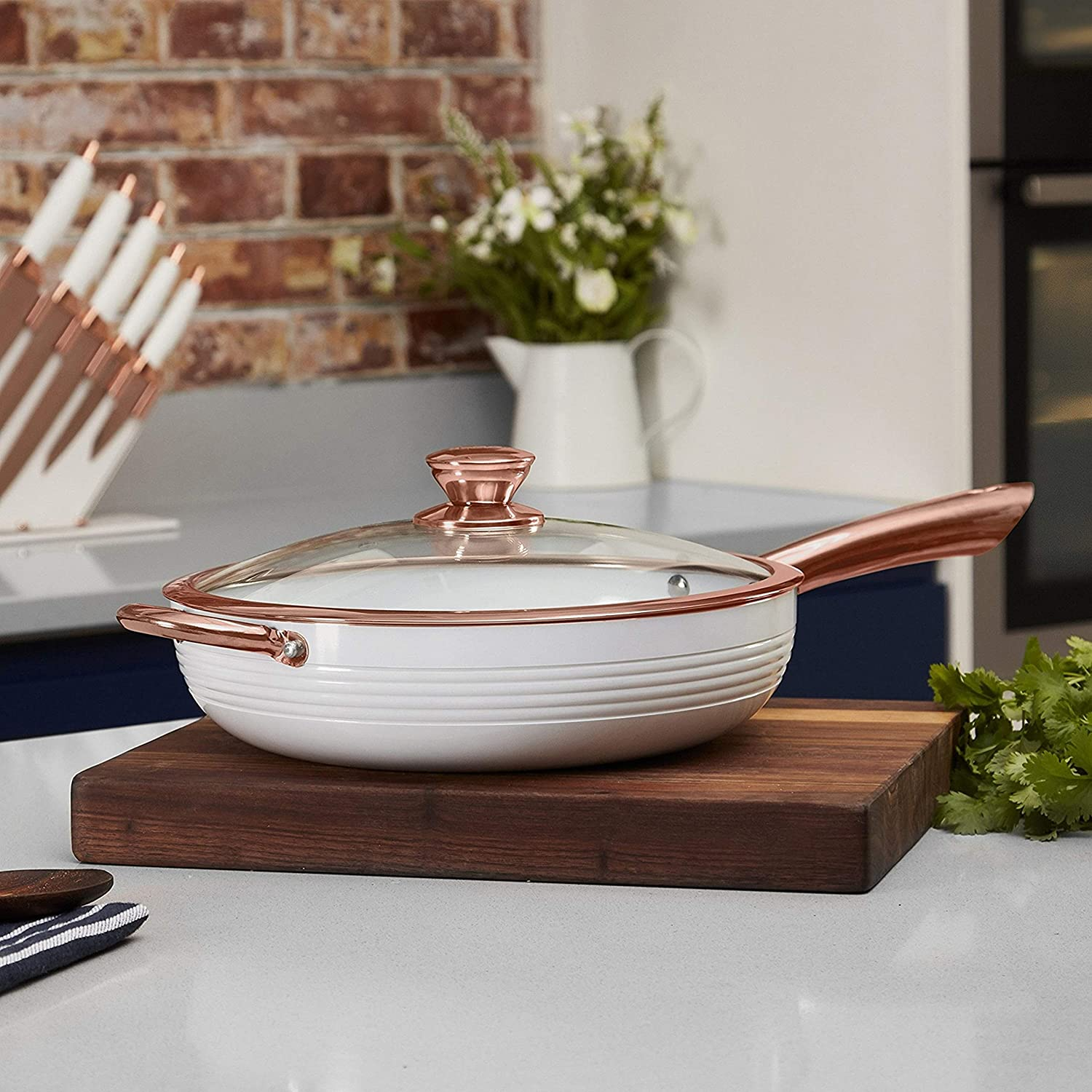 Tower Rose Gold Saute Pan 28 cm Non Stick and Easy to Clean White