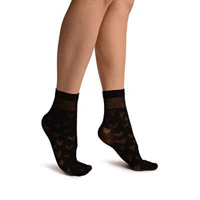 Black With Hearts Ankle High Socks - Noir Chaussettes Taille Unique (37-42)