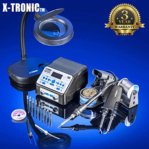 USA EXCLUSIVE X-TRONIC 8020-XTS – 2 IN 1 Antistatic Digital Soldering Iron Station and Hot Tweezers – ESD Safe – C F – Brass Tip Cleaner Flux – IC Popper – 5X Magnifying Lamp
