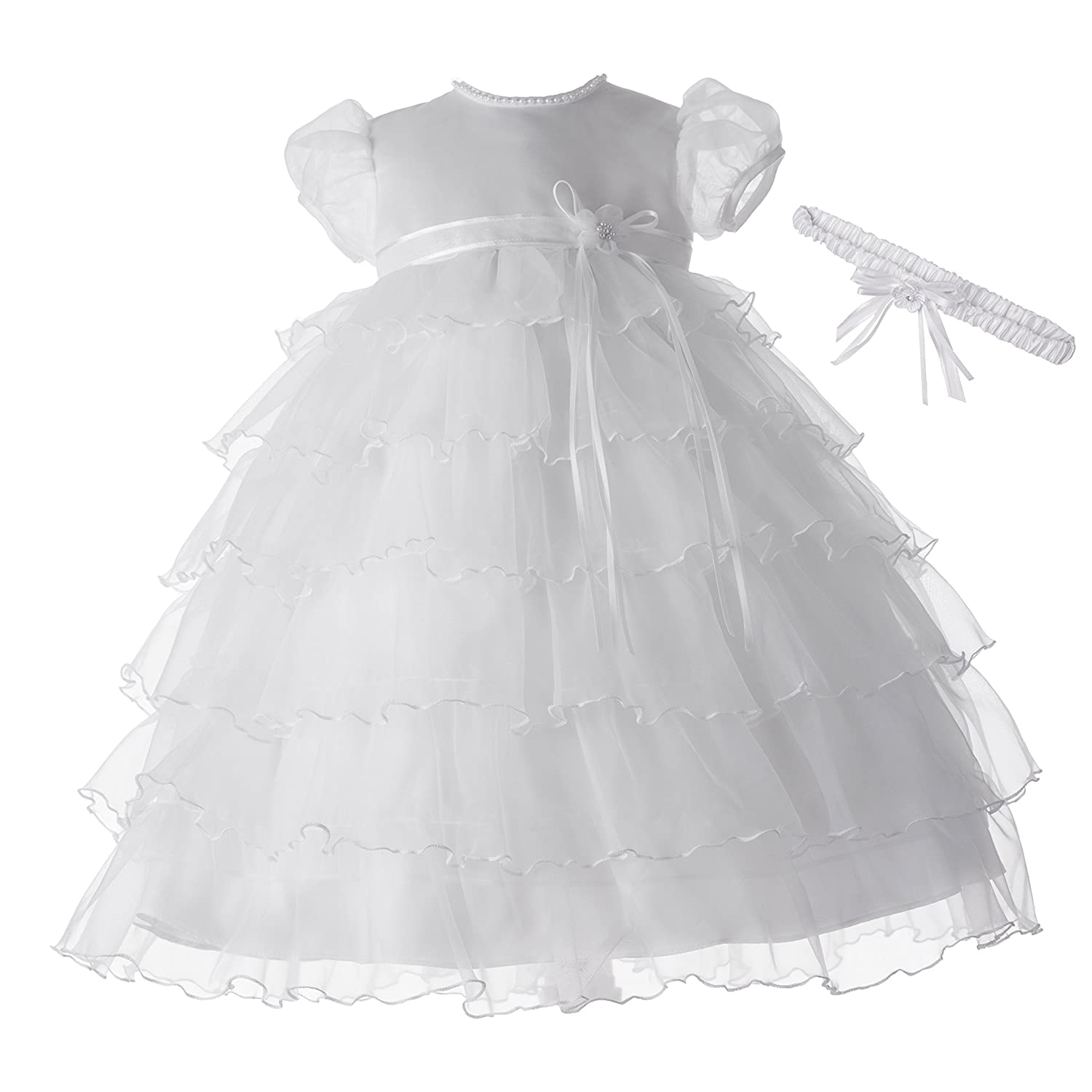 Lauren Madison baby girl Christening Baptism Multi Tiered Gown With Satin Bodice Haddad Brothers Clothing 1340