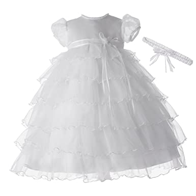 03784429f Amazon.com: Lauren Madison baby girl Christening Baptism Newborn Multi  Tiered Gown With Satin Bodice, White, 6-9 Months: Infant And Toddler  Christening ...