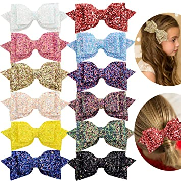 "2 X GIRLS SPARKLY GLITTER 3/"" DOUBLE HAIR BOW ALLIGATOR CLIP"
