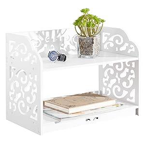 MyGift White Cutout Scrollwork Design Desktop Bookshelf, Stationery Organizer Shelf