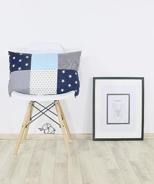 ULLENBOOM /® Housse de Coussin Patchwork 40x60 cm Bleu Clair Gris Taie d/'Oreiller d/éco en Coton, rectangulaire, Motifs /étoiles, Vichy, Pois
