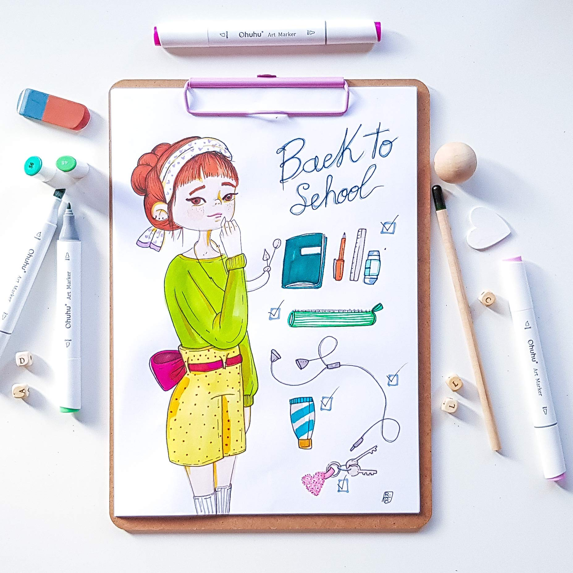 Permanent Sketch Book: Ohuhu 40-color Alcohol Marker, Dual Tips