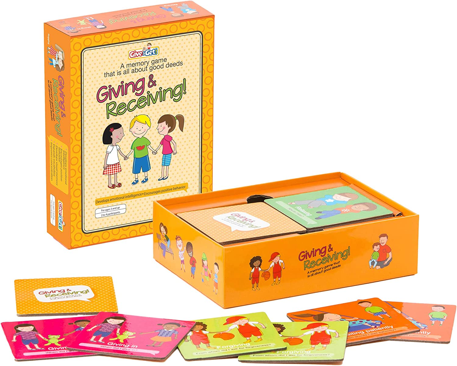 Giving & Receiving Memory Matching Game focused on Good Deeds for kids 3 years old and up. Perfect preschool memory card game to develop concentration and encourage positive behavior