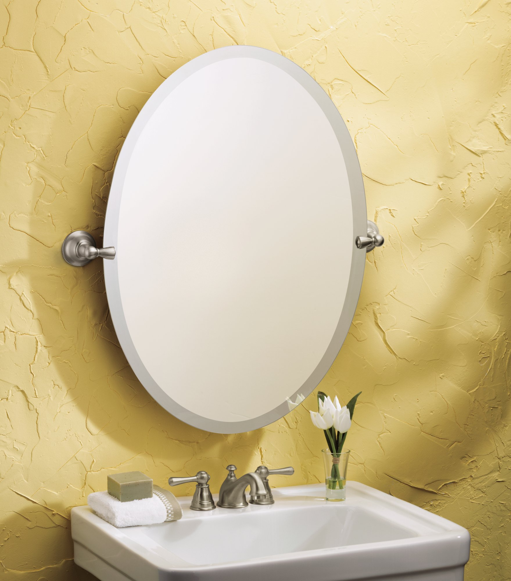 Moen dn6892bn sage bathroom oval tilting mirror brushed - Bathroom mirror mounting hardware ...
