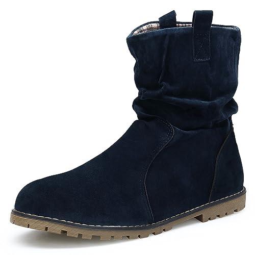 KOUDYEN Mujer Botas Invierno Zapatos Antideslizante Suede Botines,XZ999-1-blue-EU40: Amazon.es: Zapatos y complementos