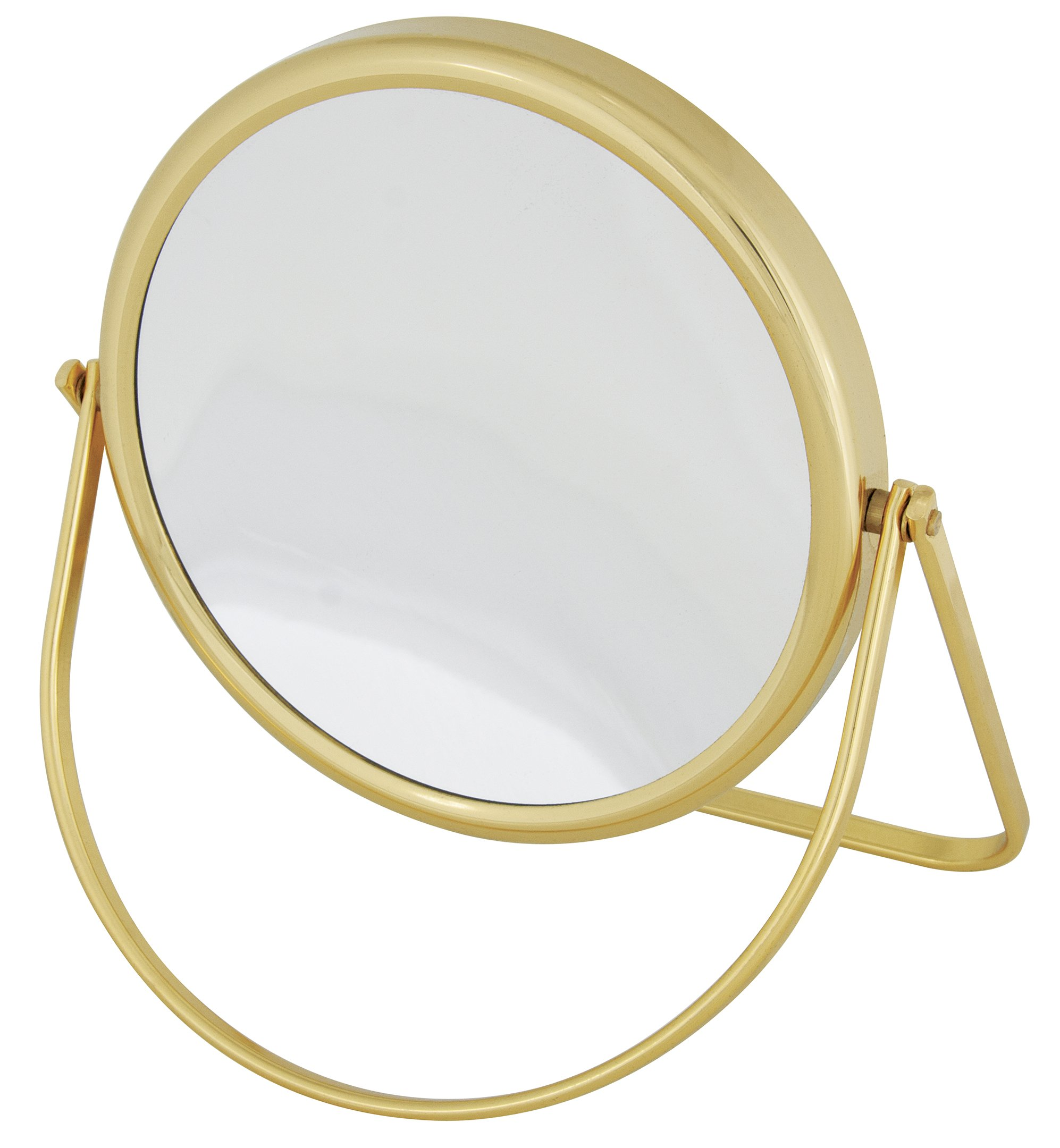 Frasco Mirrors Folding Stand Double Sided Mirror, Brass, 1 lb.