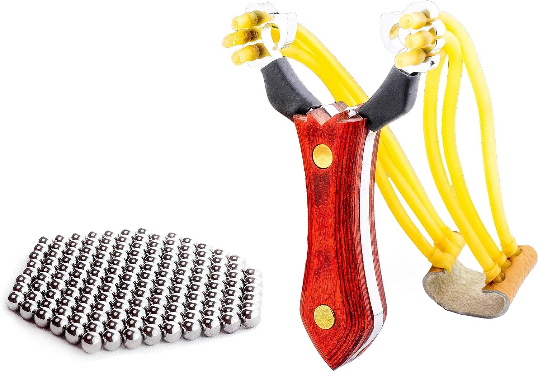 100 Stahlkugeln SCHLEUDER  ZWILLE  mit MAGAZIN Rot Steinschleuder