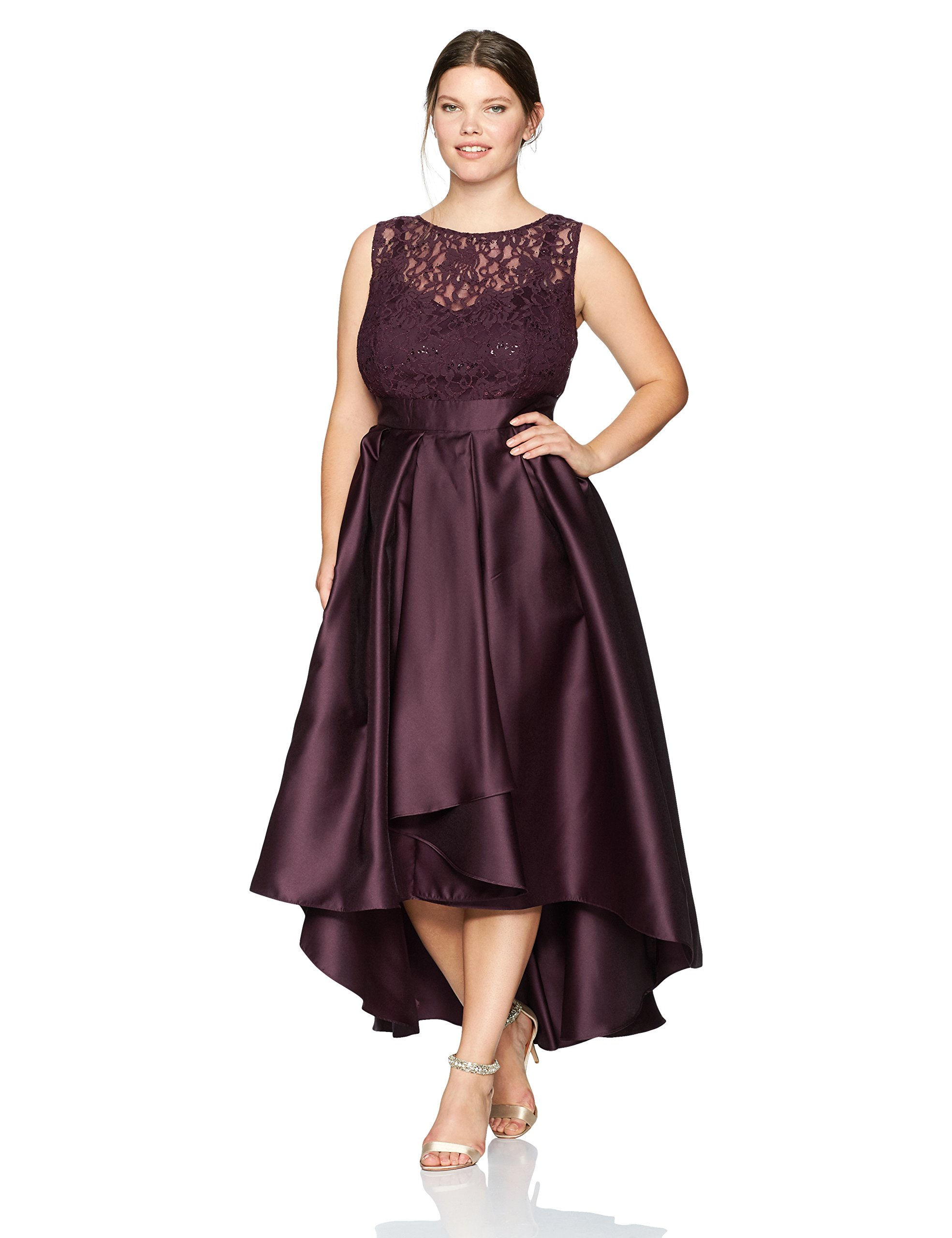 Ignite Women's Plus Size Sleeveless Lace Top with Pleated Hi-Lo Skirt Long Gown, Fig, 18W