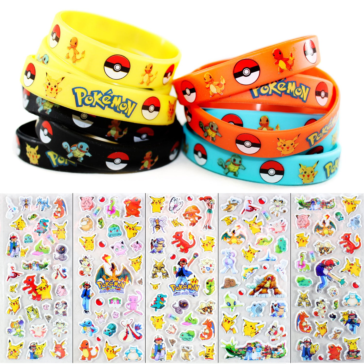 24 Pokemon Wrist Bands and Sticker Sheet - Colorful Bracelets And Assorted Stickers For Kids