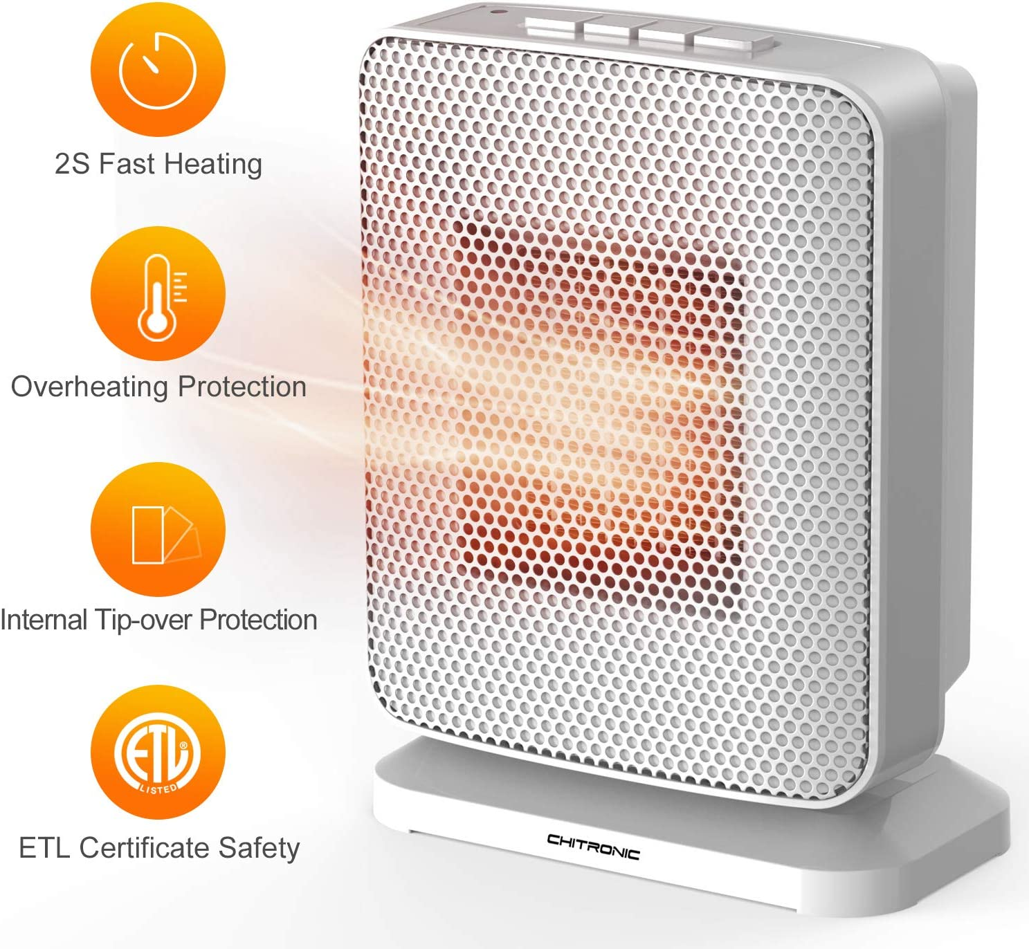 CHITRONIC Portable Ceramic Space Heater with Efficient 1500 Watt, Oscillating Function, Overheating and Tip-Over Protection, Push Button Design, Cold & Heat Settings for Home and Office (ETL Listed)