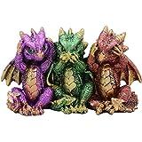 Ebros Gift Metallic Colorful Three Wise Baby Dragon Set See Hear Speak No Evil Whimsical Hatchlings Wyrmlings Dragons…