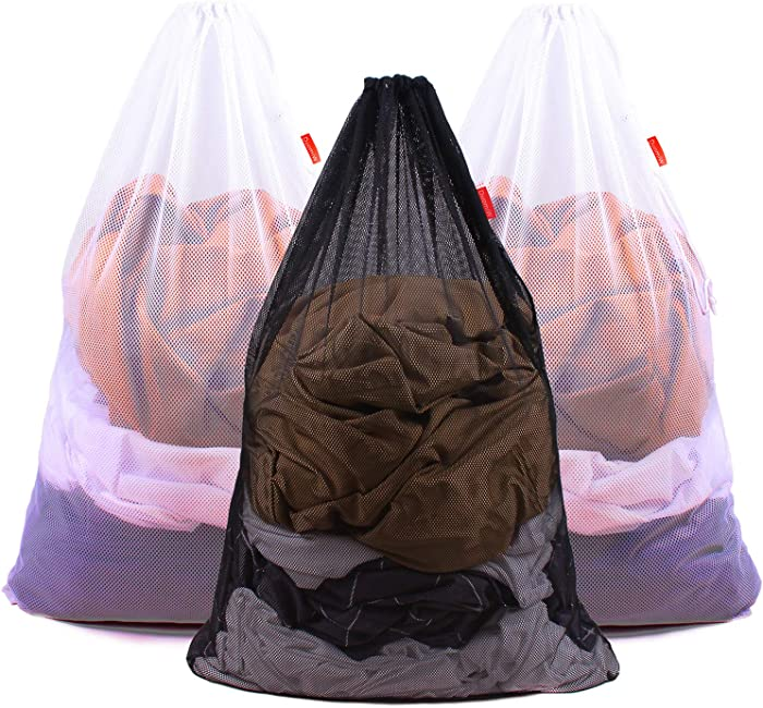DuomiW Mesh Laundry Bag Heavy Duty Drawstring Bag, Factories, College, Dorm, Travel and Apartment Dwellers, 24 x 36 Inches (2 White & 1 Black)
