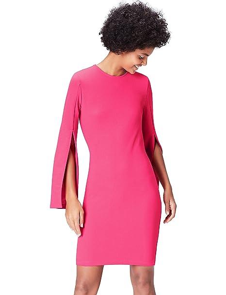 208c457889d6 FIND Vestito con Maniche con Spacco Donna  Amazon.it  Abbigliamento