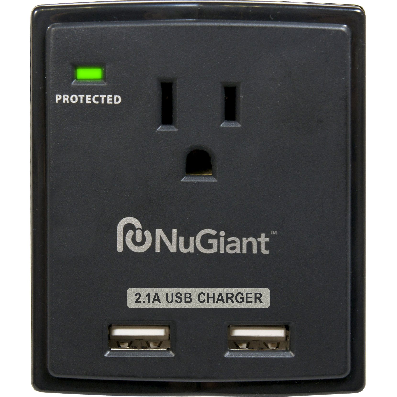 Inland NSS13 Wall Tap Style 1 Outlet Surge Protected 2-USB Charger Ports with 2.1A for iPad by Inland