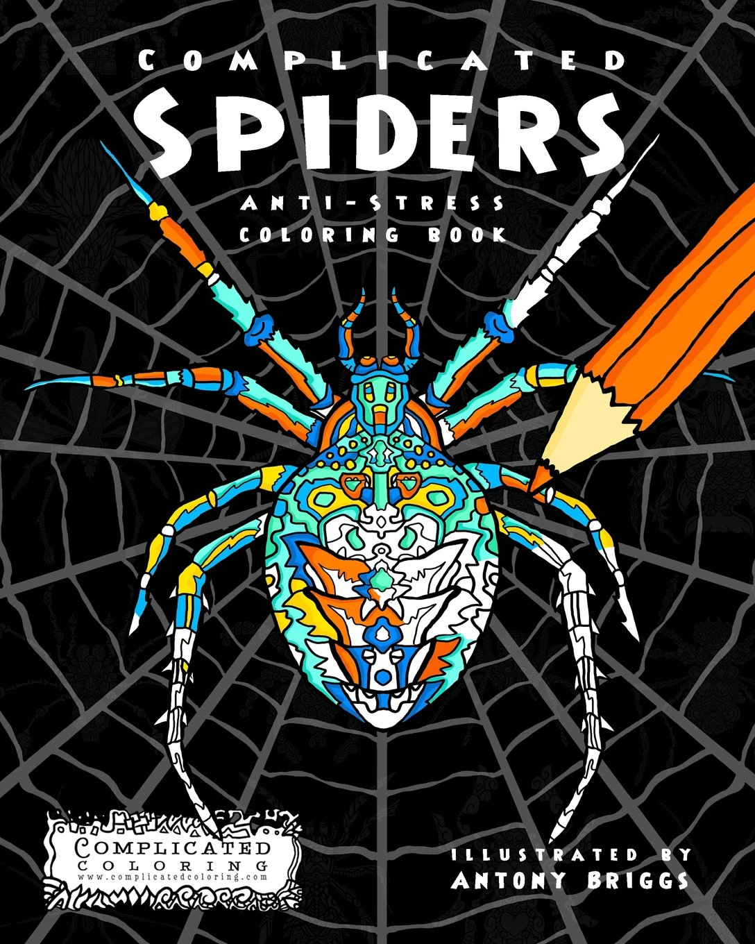 amazon com complicated spiders anti stress coloring book