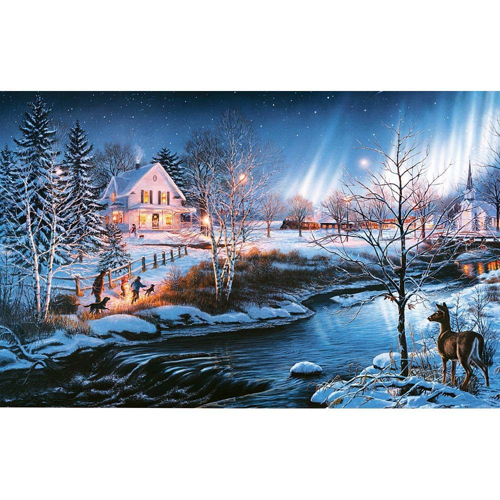 Bits and Pieces - 300 Piece Glow in the Dark Puzzle - All is Bright by Artist James Meger - Winter Holiday Landscape - 300 pc Jigsaw by Bits and Pieces