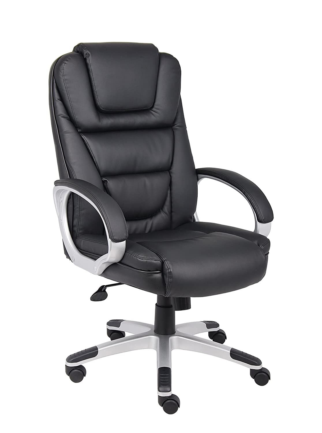 Black and white office chair - Amazon Com Boss Office Products B8601 High Back No Tools Required Leatherplus Chair In Black Kitchen Dining