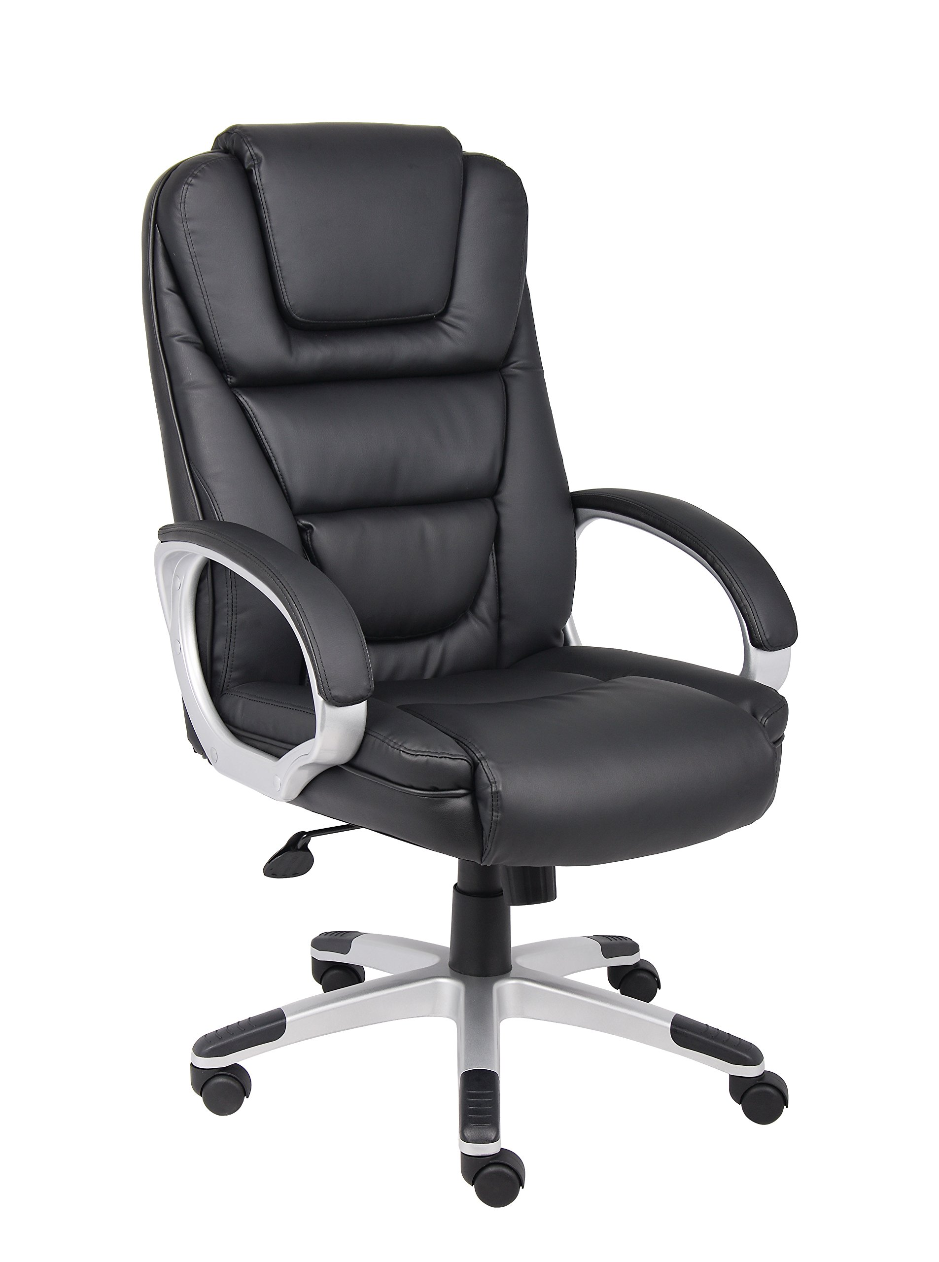 Boss Office Products High Back No Tools Required LeatherPlus Chair in Black by Boss Office Products