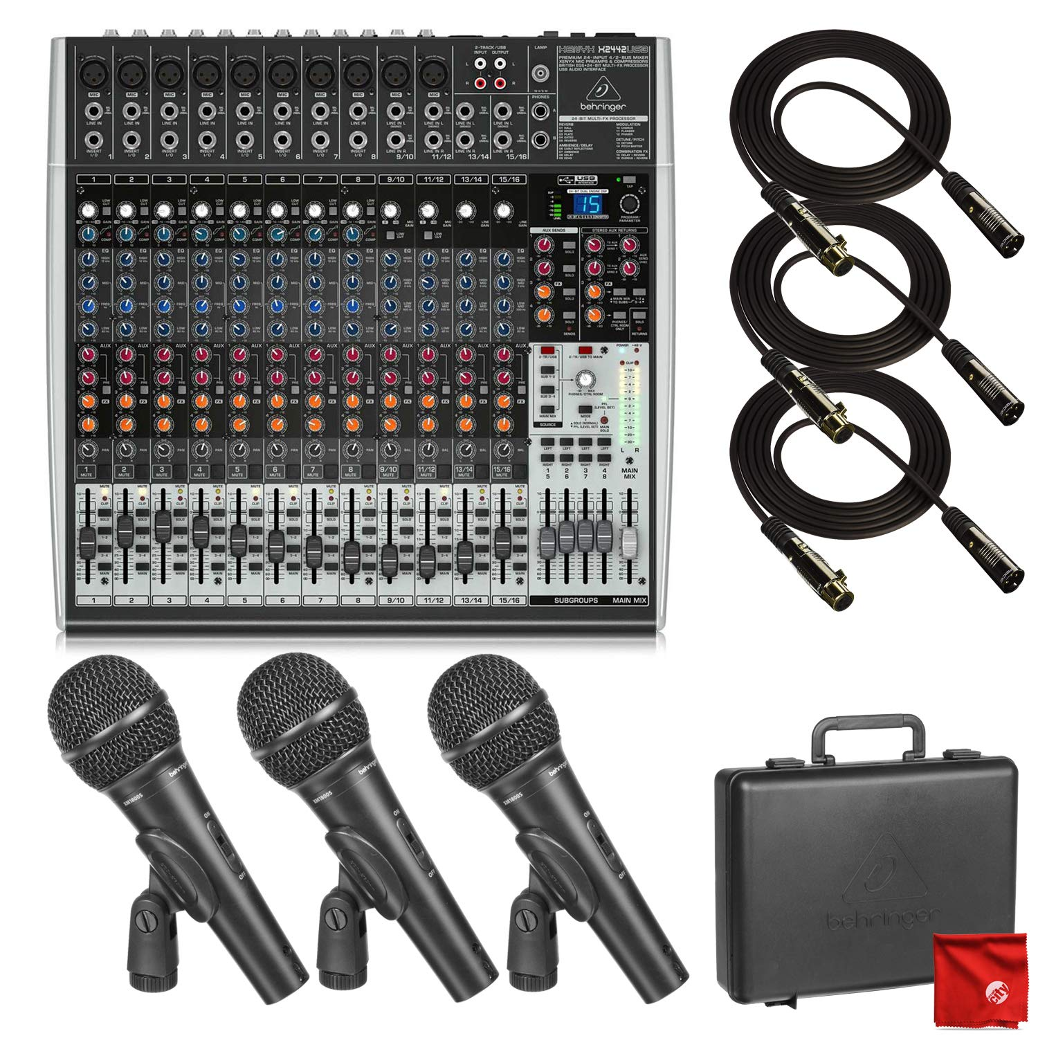 Behringer Xenyx X2442USB Premium 24-Input 4/2-Bus Mixer with USB/Audio Interface Bundle which includes 3 Pack of Behringer Dynamic Microphones and 3X Pro 10ft XLR Cables and Microfiber Cleaning Cloth