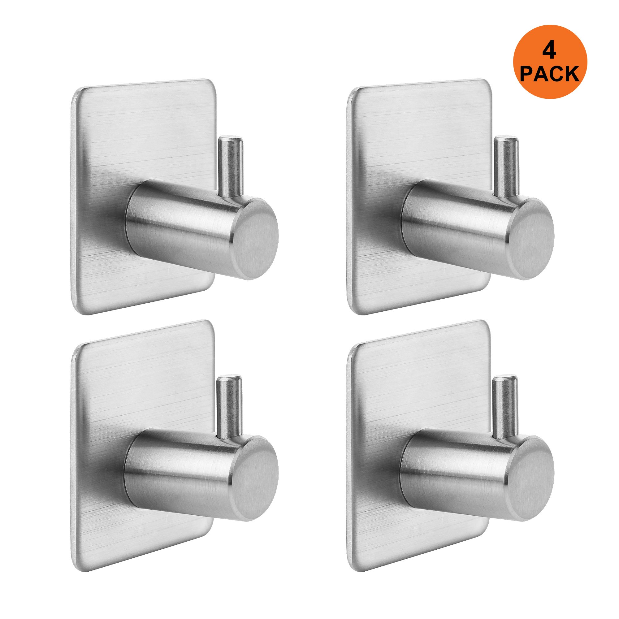 KANGORA Bathroom Towel Hook Bath, Shower & Kitchen | Strong Adhesive Backing Wall Door | Contemporary, Stainless Steel Design | Easy Installation (4 - Pack)