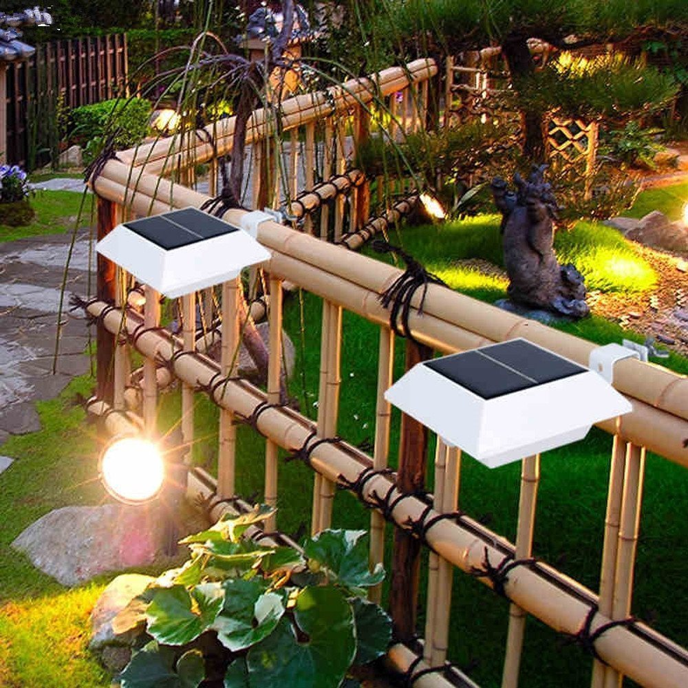 Falove Solar Powered 4 LED Light for Outdoor Garden Roof Gutter Fascia Board fence tiki Hut Dog House tree outside Garage Door wall - - Amazon.com & Falove Solar Powered 4 LED Light for Outdoor Garden Roof Gutter ... azcodes.com