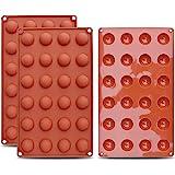 homEdge Mini molde de silicona semi-esfera de 24 cavidades, 3 paquetes de moldes para hornear para hacer chocolate, pasteles,