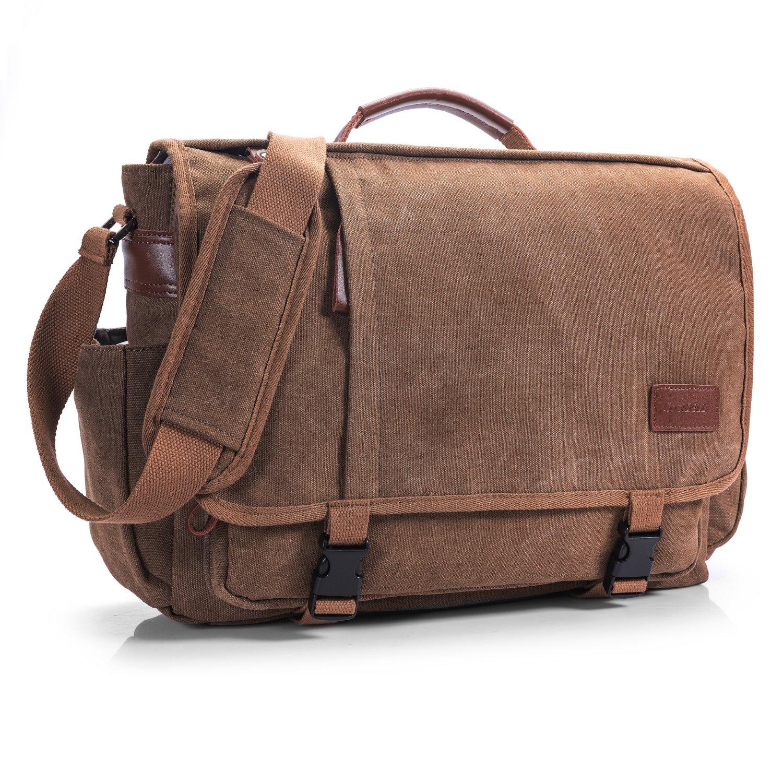CoolBELL Messenger Bag 15.6 Inch Canvas Briefcase Vintage Shoulder Bag Laptop Case Mens Handbag Business Briefcase Multi-Functional Travel Bag for Men/Work / College/Student (Coffee)