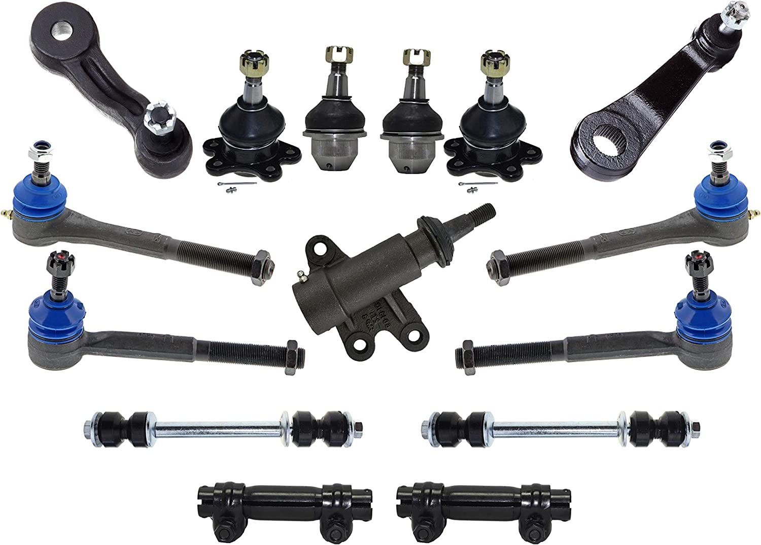 PartsW 15 Piece Suspension /& Steering Tie Rod Adjusting Sleeves Idler /& Pitman Arm Ball Joints Kit for CADILLAC CHEVROLET GMC