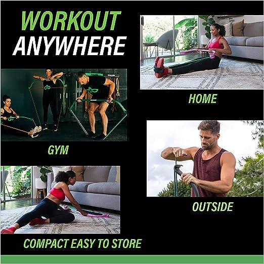 Gorilla Fitness Equipo de Entrenamiento de Resistencia con Bandas Ajustables para Gimnasio en casa, Entrenamientos de Cuerpo