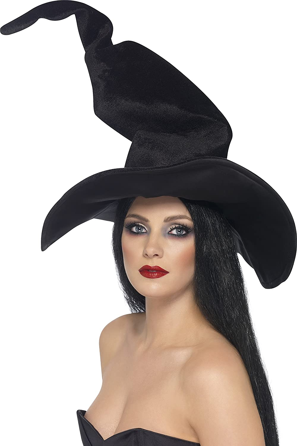 Smiffy's Witch Hat, Tall and Twisty Velour - Black: Smiffys ...
