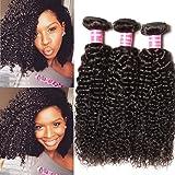 Longqi Beauty Peruvian Curly Weave Hair 3 Bundles, Peruvian Hair Curly Remy Hair 3pcs Set 100% Virgin Unprocessed Human Hair Extensions Natural Color (18 20 22inch)