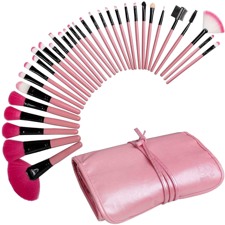 Best Professional Makeup Brushes Set - 32 Pc Cosmetic Foundation Make up Kit - Beauty Blending for Powder & Cream - Bronzer Concealer Contour Brush - Beauty Bon