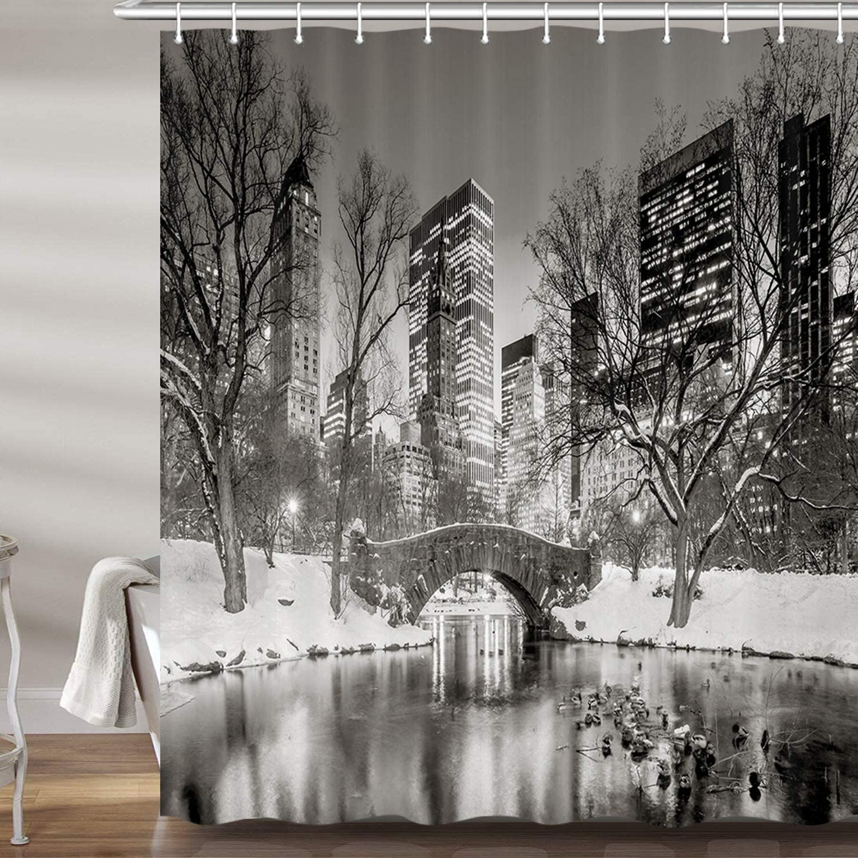 new york winter night shower curtain set cityscape snow central park scene christmas premium fabric bath curtains bathroom accessories decor with 12