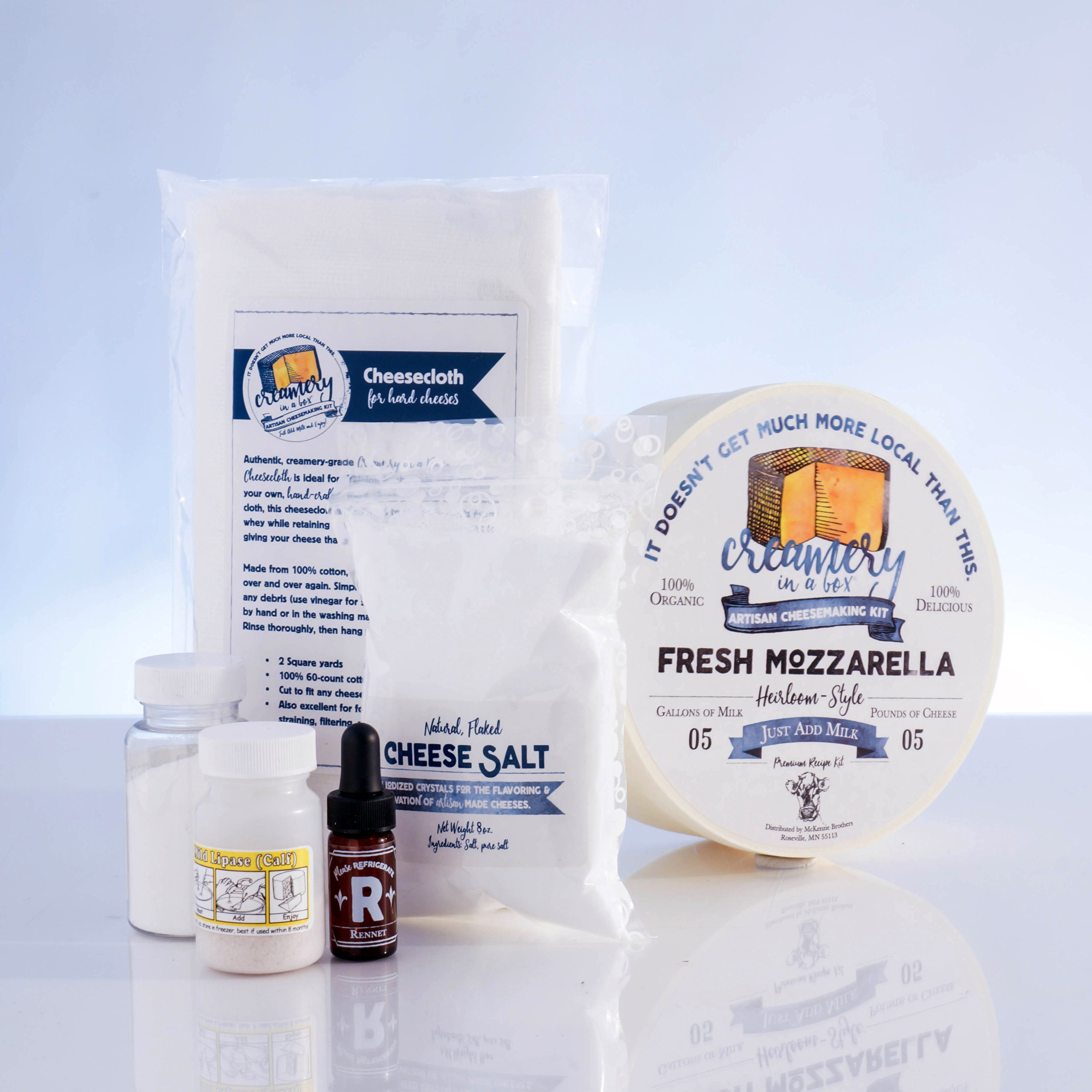 Creamery In A Box Fresh Mozzarella Cheesemaking Recipe Kit - Ingredients For Making 5 Pounds Of Homemade Cheese