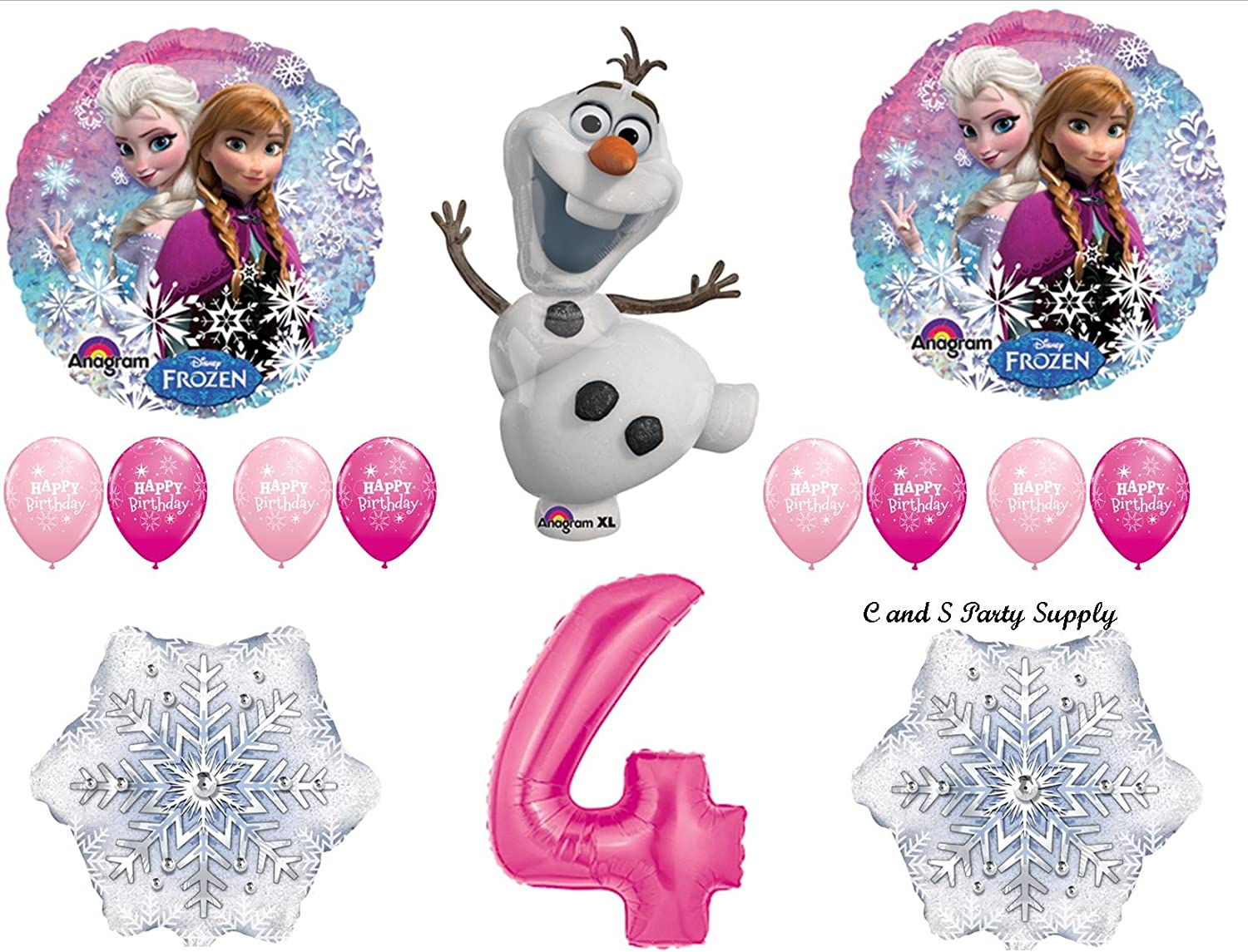 Frozen 4th Birthday Party Supplies Olaf Elsa and Anna Balloon Bouquet  Blue #4