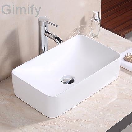Gimify Lavabi Bagno da Appoggio Lavello Bagno in Ceramica Bianca ...