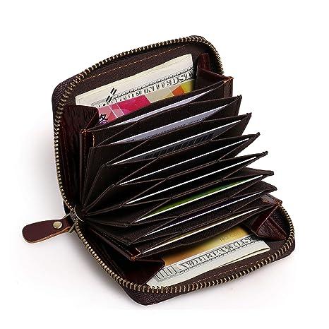 APHISONUK Cartera para Hombres RFID Bloqueo Seguridad Cuero Genuino Billetero Monedero para Tarjeta de crédito -
