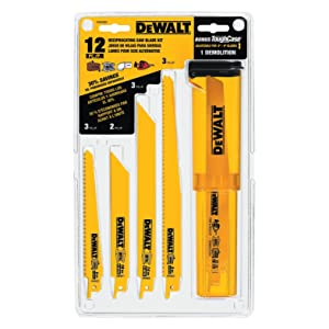 DEWALT DW4892 Bi-Metal Reciprocating Saw Blade Set with Case, 12-Piece