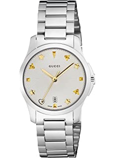 Gucci Quartz Stainless Steel Casual Silver-Toned Womens Watch(Model: YA126572)