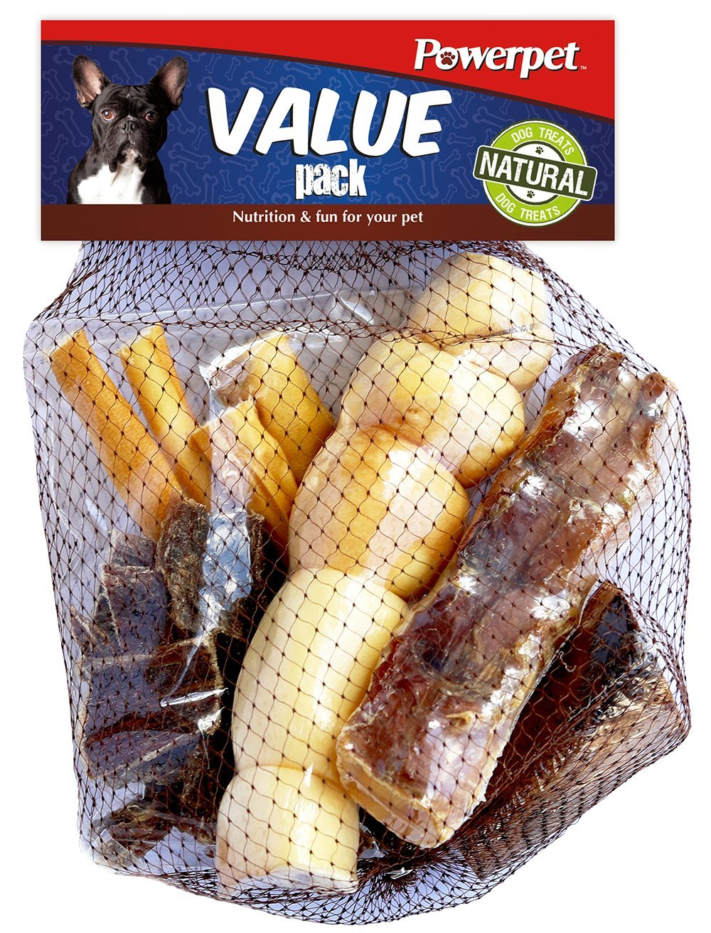 Powerpet: Value Pack - Natural Dog Chews - Helps Improve Dental Hygiene - 100% Natural & Highly Digestible - Protein with Low Fat - Smoked Beef Bone - Beef Jerky Bites, Trachea, Cheek Roll, Cow Tail