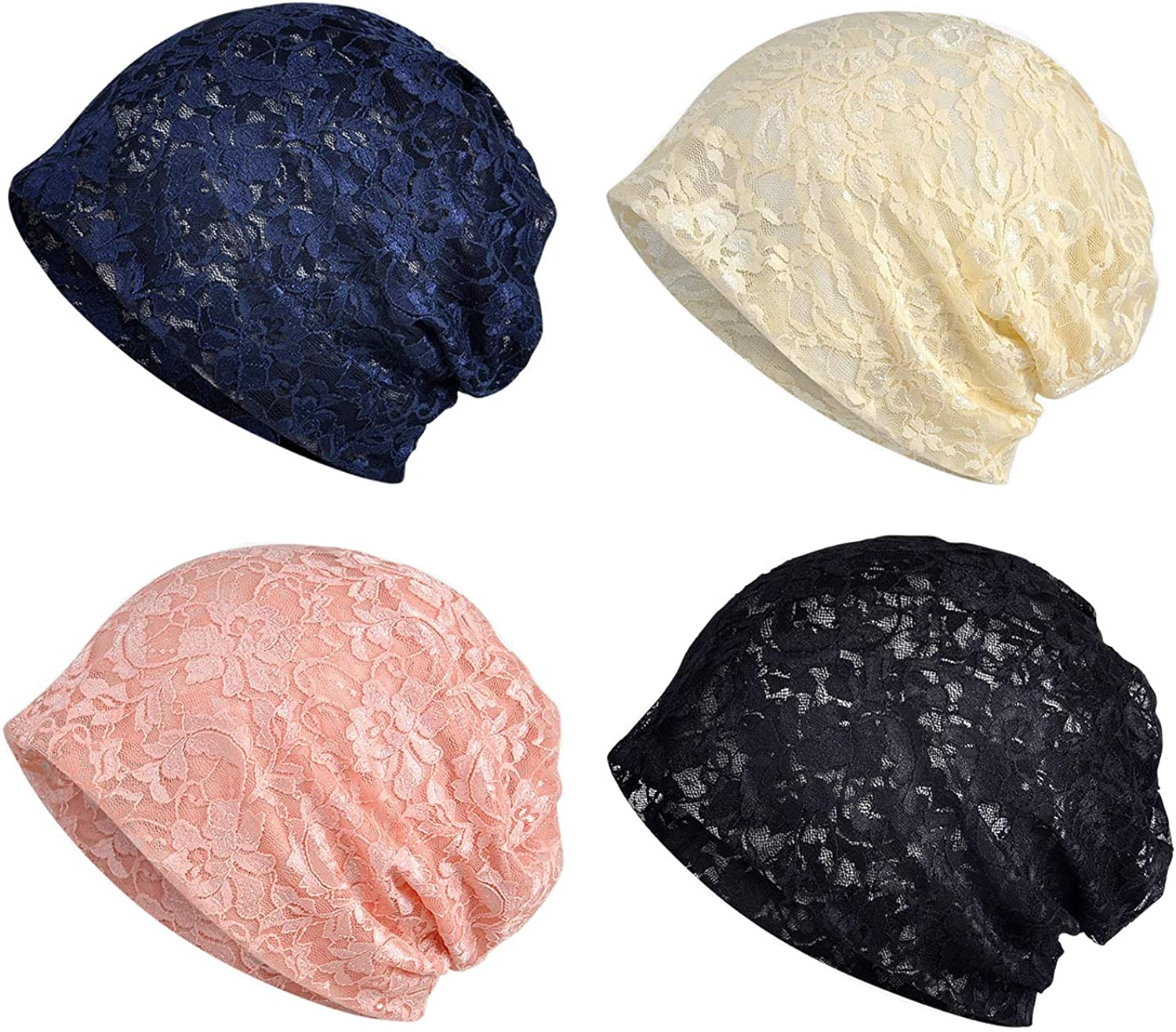 Lace Beanies Chemo Caps Cancer Headwear Skull Cap Knitted hat Scarf for Womens (MZ007-4pack-c) at  Women's Clothing store