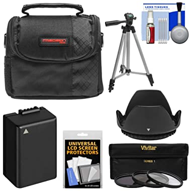 Essentials Bundle for Panasonic Lumix DC-FZ80 with Case + 3 UV/CPL/ND8 Filters + Hood + DMW-BMB9 Battery + Tripod + Kit